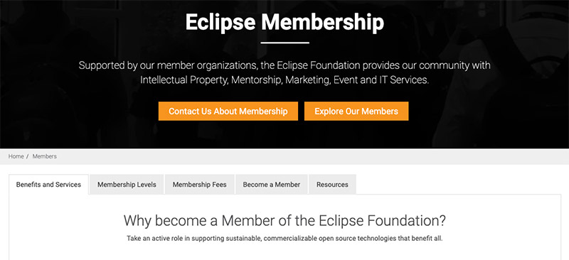 Screenshot of the Eclipse Membership landing page